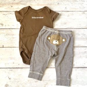Baby Boy 6m Little Brother Outfit Brown Carters